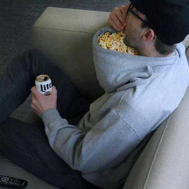 51 Crazy Life Hacks - A hoodie can double up as a bowl for movie night.