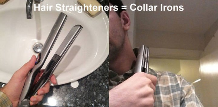 51 Crazy Life Hacks - Use a hair straightener as a shirt collar iron.