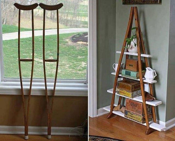 51 Crazy Life Hacks - Create a unique shelf with used crutches.