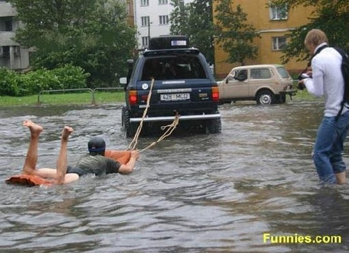 51 Crazy Life Hacks - Some people know how to turn flooding into a sport.