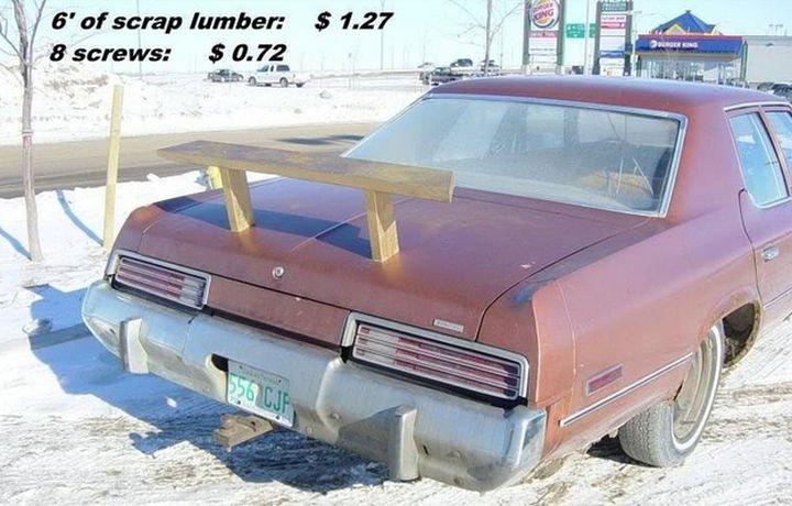 51 Crazy Life Hacks - A DIY car spoiler for less than dollars.