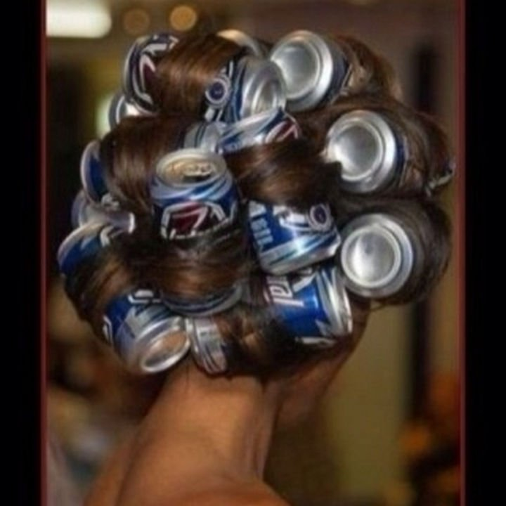 51 Crazy Life Hacks - Use used beer cans as hair rollers.