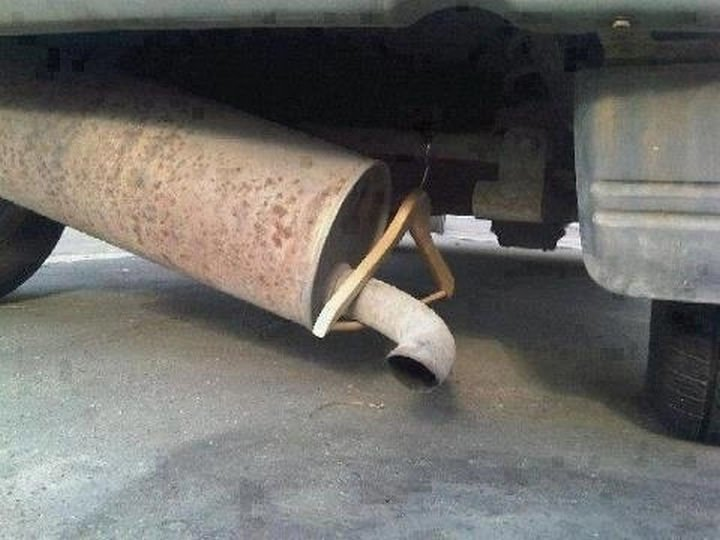 51 Crazy Life Hacks - Reduce grinding muffler noise with a clothes hanger. It also reduces dangerous sparks.