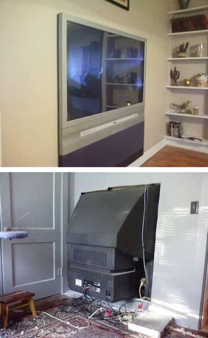 51 Crazy Life Hacks - Make your own flat screen TV with this DIY project.