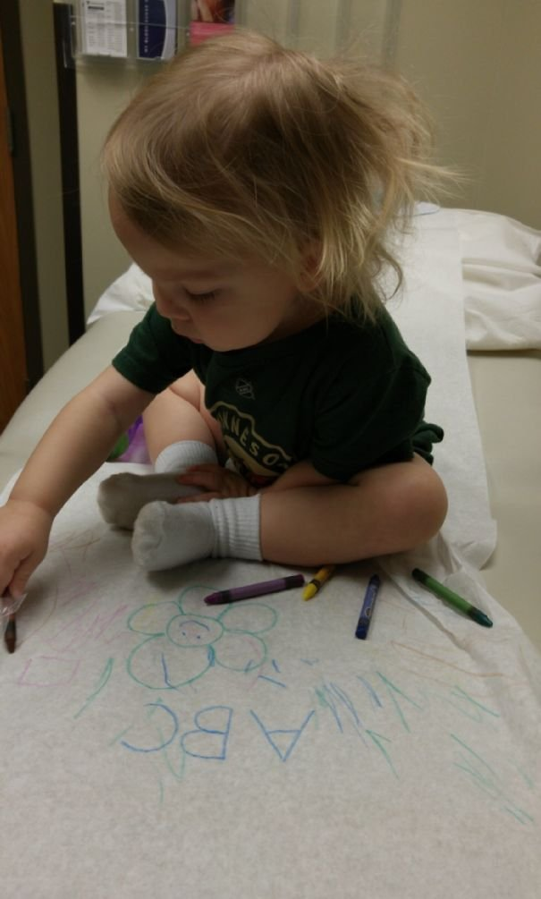 Bring Crayons To The Doctor When Your Kids Have A Check Up. It Keeps Everyone Distracted During Wait Times