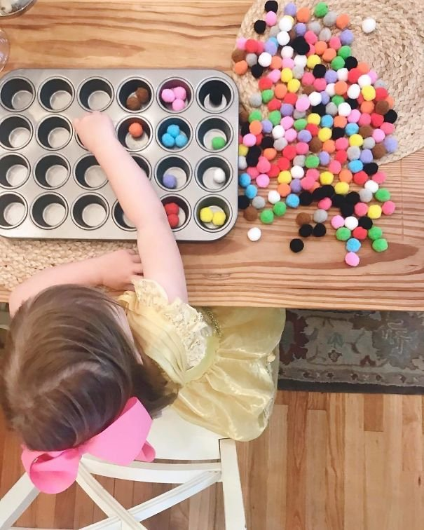 Ask Your Child To Sort Little Things Like Felt Balls Or Colourful Pasta Into A Muffin Pan