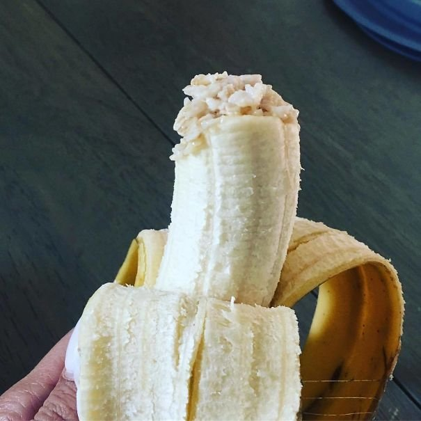Sometimes I Have To Disguise Oatmeal Within A Banana To Get My Child To Eat. He's Been Eating The Same Bite Of Banana And New Oatmeal This Whole Time