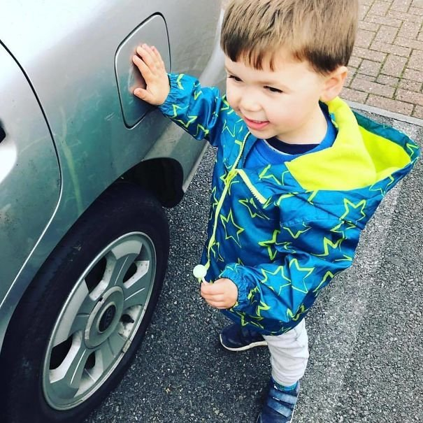 When Getting Out Of The Car By A Road Or In A Car Park, Ask Your Child To Touch 'The Spot' Aka The Fuel Cover Thingy! Especially Helpful For Anyone With Multiple Children Trying To Get Everyone Out Of The Car!