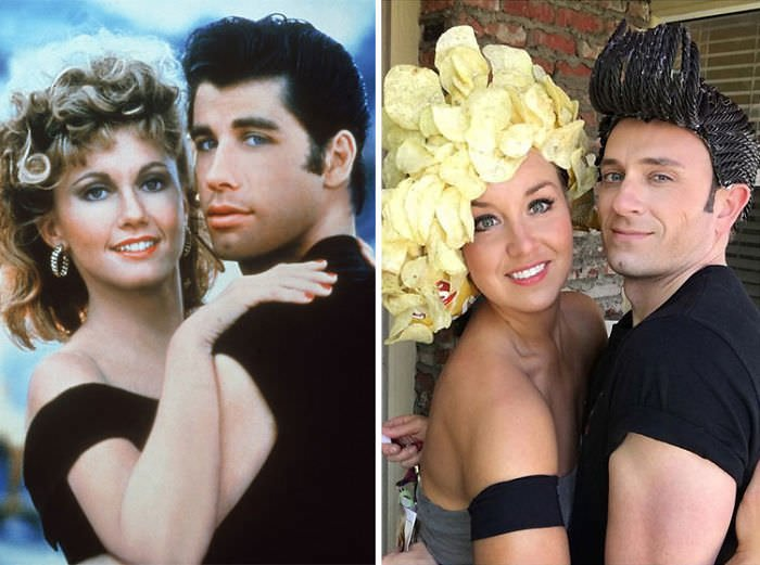 Tom Lenk And Courtney Andresen As John Travolta And Olivia Newton-john In Grease
