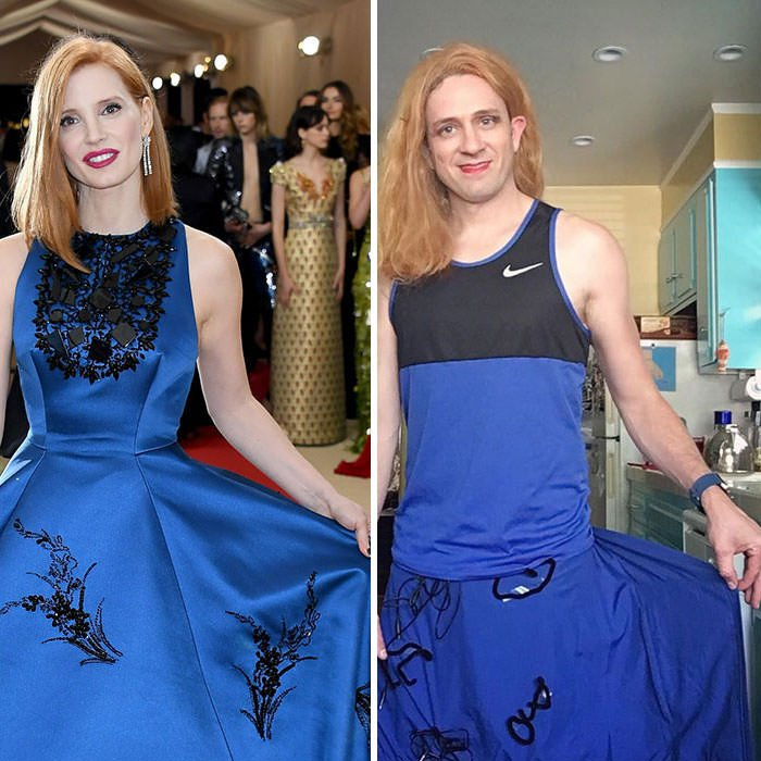 Tom Lenk As Jessica Chastain At Met Gala