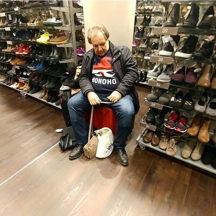 Miserable men shopping