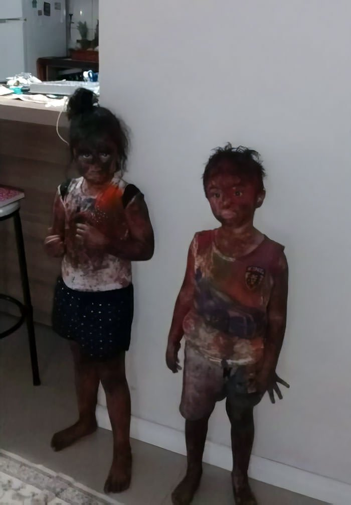 My Cousins Had A Paint Party At Their Daycare And Now They Look Like A Cartoon Character When A Bomb Explodes