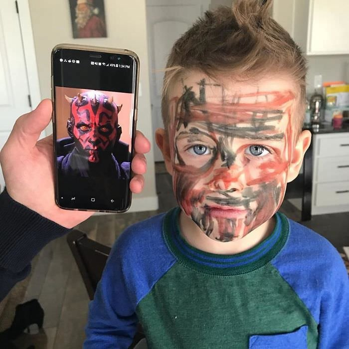 My 4-Year-Old Found Permanent Markers And Is So Proud That He Is Now Darth Maul