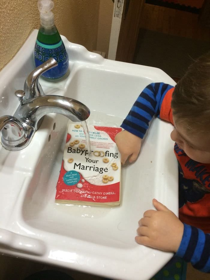 "Walked In The Bathroom To Find Our Precious Child ""Washing"" A Book He Found"