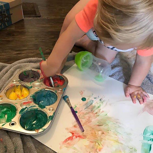 Mom Tip: Yogurt Plus Food Coloring = Safe Edible Paint