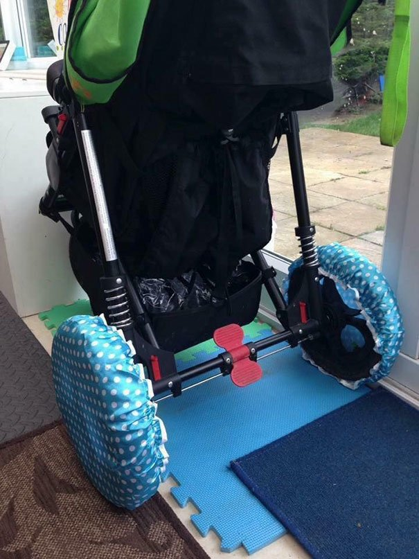 If You Have To Bring Your Stroller Indoors Put Shower Caps On The Wheels To Prevent Bringing The Dirt Inside