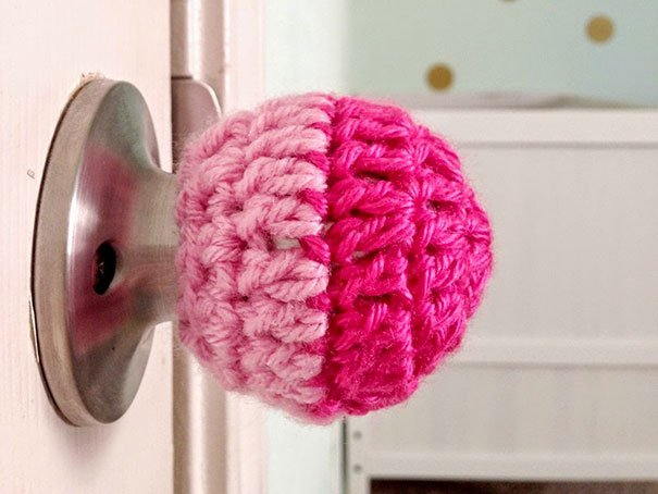 Knit A Childproof Door Knob Cover To Avoid Getting Locked Out Or To Keep Children Away Of Entering Certain Rooms