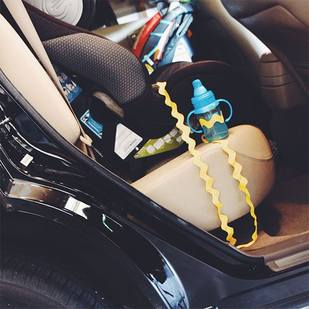 Attach A Sippy Cup To Your Kid's Car Seat. This Way You Won