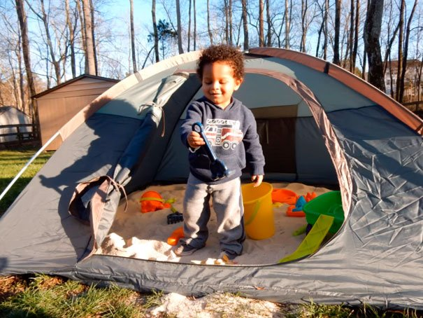 Use A Tent To Make A Sandpit. You Will Be Able To Close It During The Night To Keep The Cats Out