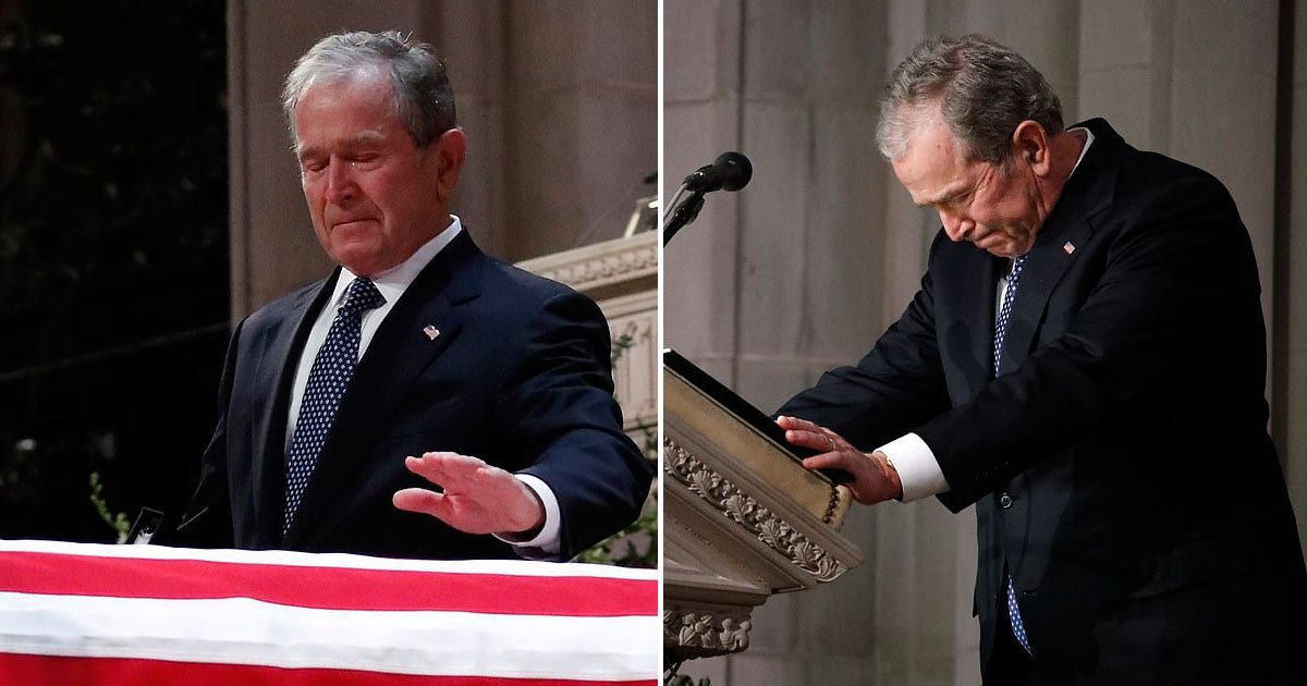 bush funeral.jpg?resize=412,232 - George W. Bush's Moving Eulogy At His Father George H.W. Bush's Funeral In Washington Dc