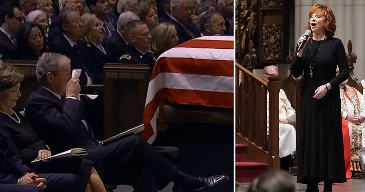 featured image.png?resize=412,232 - George W. Bush Bursts Into Tears As Reba McEntire Sings At Friend George H.W. Bush's Funeral
