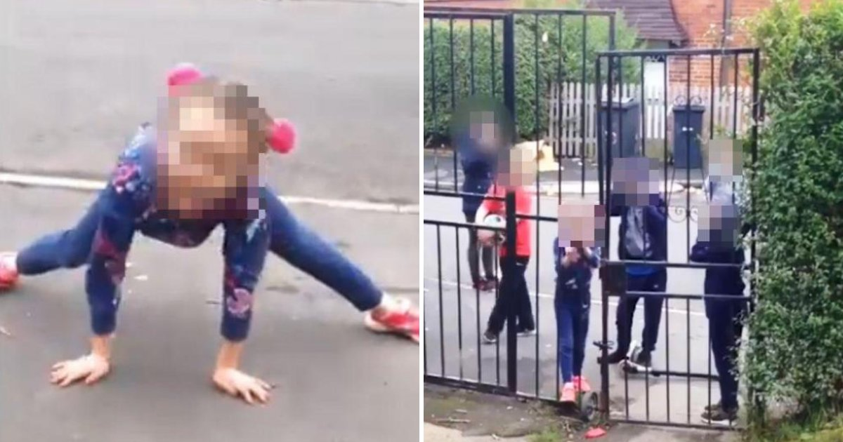 girl5.png?resize=412,232 - Gang Of Kids Caught On Camera Throwing Bottles At Family's Gate And Insulting Strangers