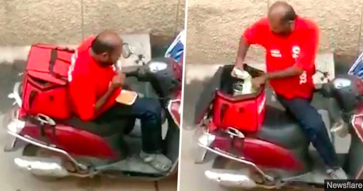 img 5c27f61b2a581.png?resize=412,232 - Une vidéo montre un livreur en train de manger la nourriture de ses clients avant de refermer les boîtes.