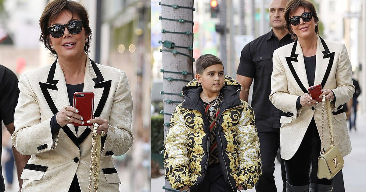 kris jenner buys a 3k versace puffer coat for her grandson as she stepped out for christmas shopping in beverly hills.jpg?resize=1200,630 - Kris Jenner Bought A $3k Versace Puffer Coat For Her Grandson