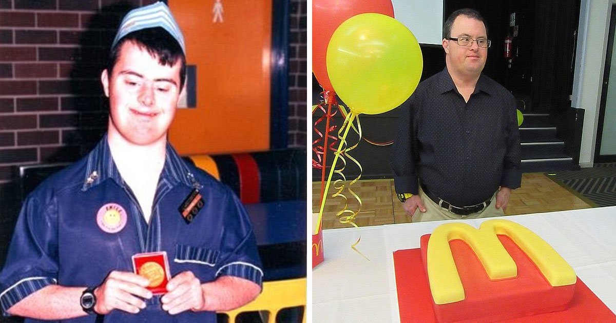 mcdonalds down syndrome worker.jpg?resize=412,232 - McDonald's Worker With Down's Syndrome Retires After 32 Years