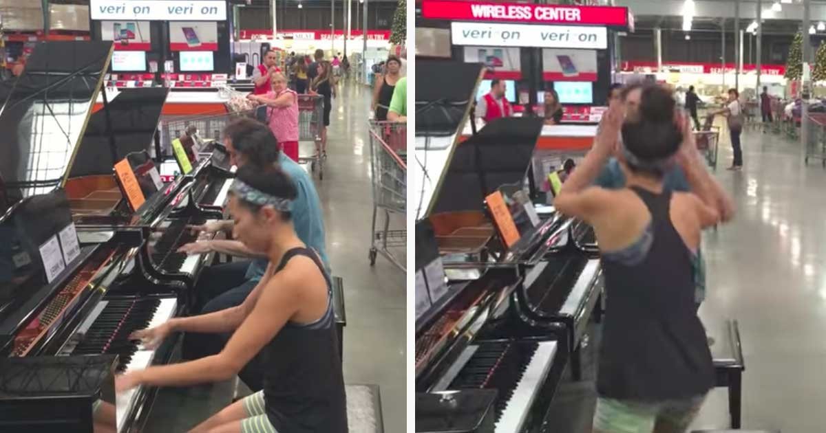 """p3.jpg?resize=412,232 - Random Shopper Joins Forces With Piano Salesman At Costco To Perform A Captivating Improv Of Adele's """"Someone Like You"""""""