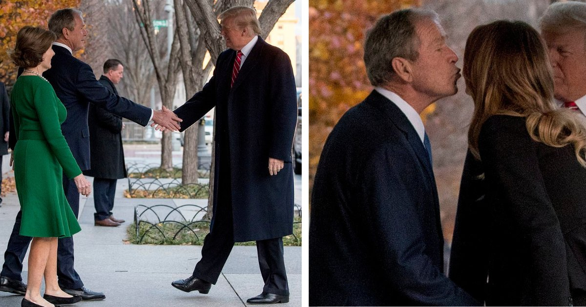 s1 4.png?resize=412,232 - Trumps Met Bushes and Melania Gave a Tour to the Former First Lady to Show the Decorations Inside the White House