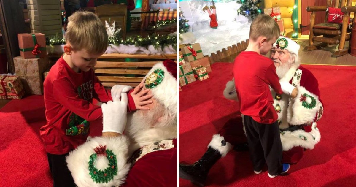 santa4.png?resize=574,582 - Santa Claus Crawls On The Floor To Help Blind Boy With Autism Feel The Christmas Spirit