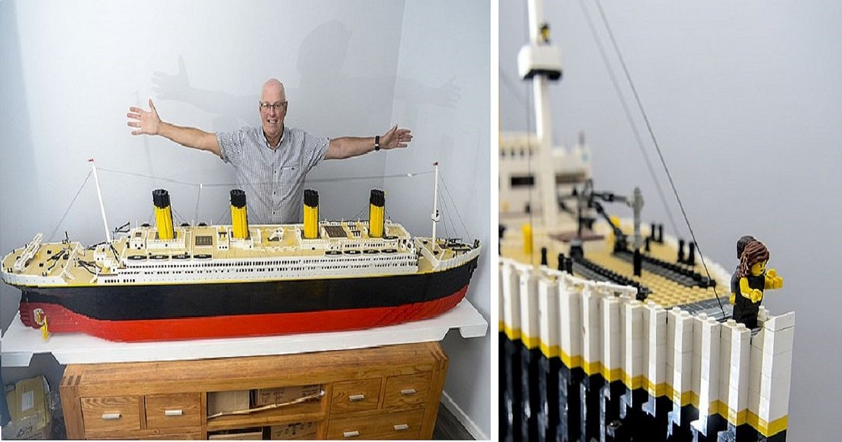 t3 2.jpg?resize=1200,630 - Un grand-père a utilisé 40 000 briques Lego pour construire une réplique du Titanic, avec les versions miniatures de Jack et Rose!