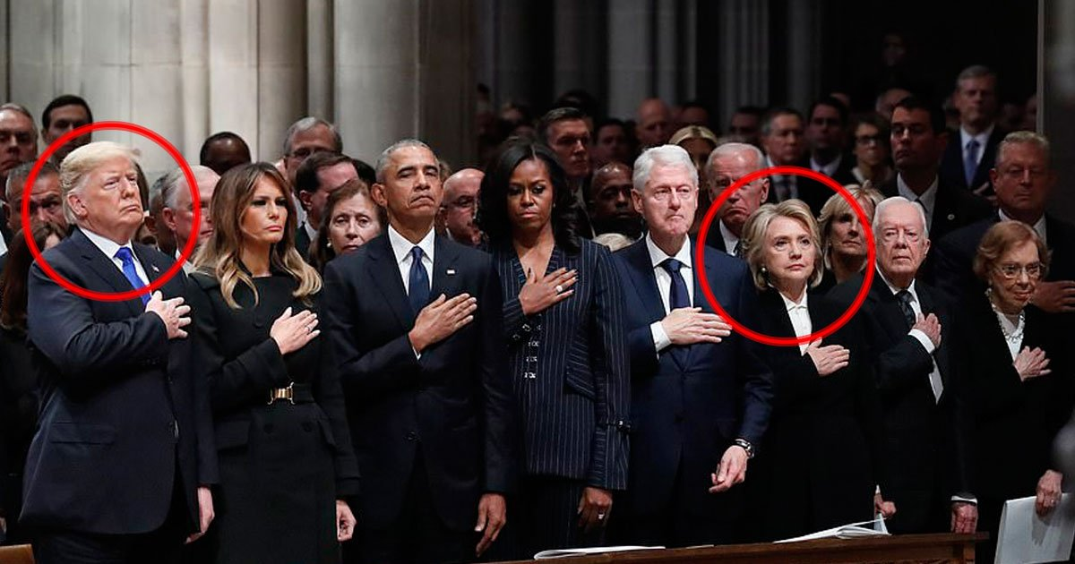trump hillary.jpg?resize=412,232 - Hillary Clinton's Reaction As President Donald Trump And Melania Trump Arrive For George H.W. Bush's Funeral