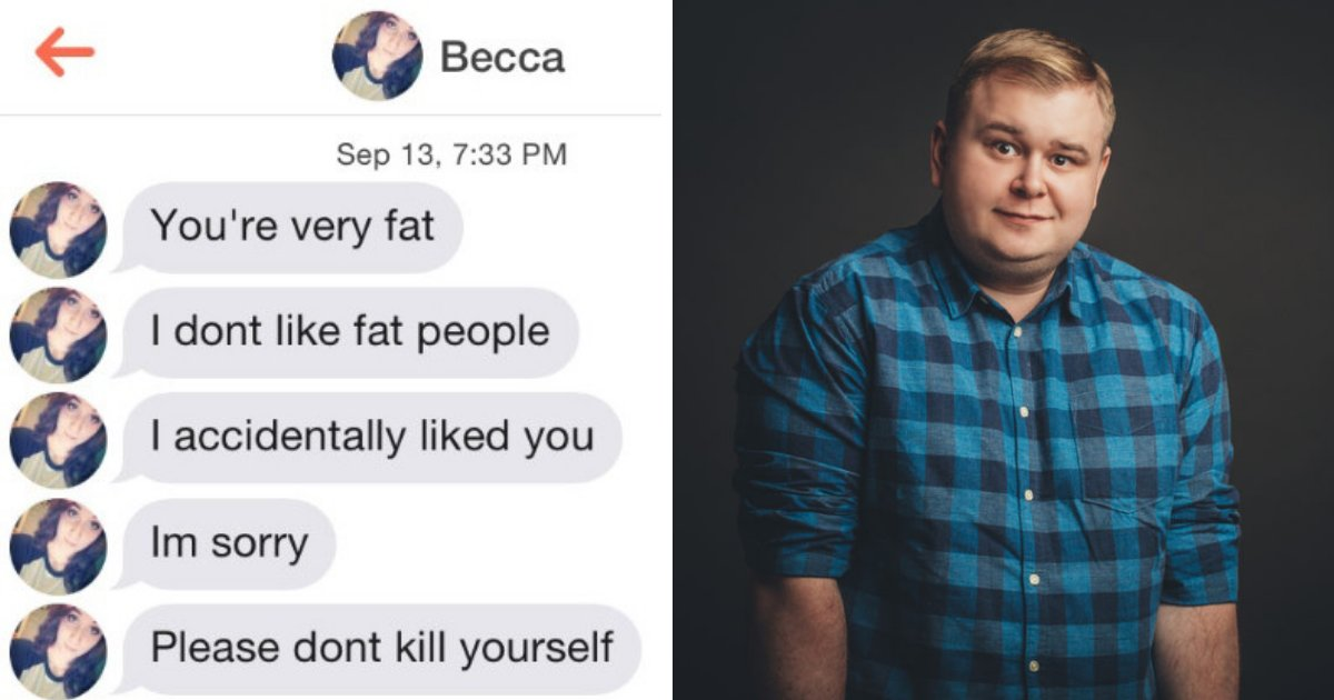 untitled design 27.png?resize=1200,630 - Guy Responds To Rude Tinder Girl Who Fat-Shamed Him After Accidentally Liking His Profile