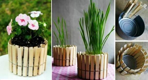 www socreativethings com planters from clothespins 1 610x330.jpg?resize=1200,630 - 20 Creative DIY Project Ideas