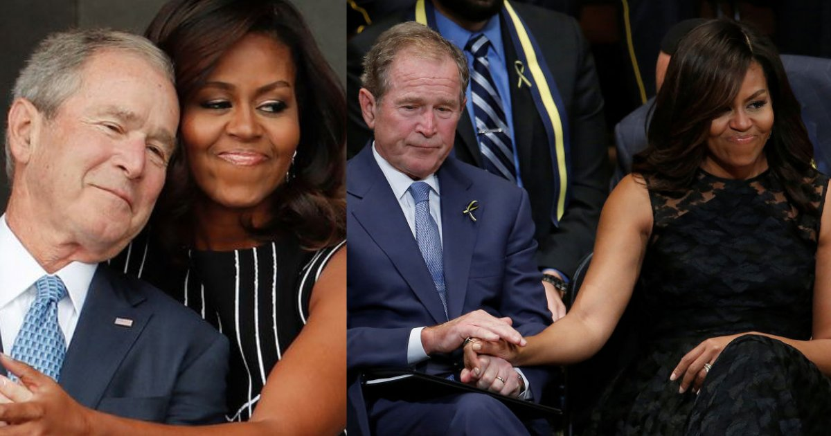 y5 4.png?resize=412,232 - George W. Bush and Michelle Obama Share a Moment of Warmth