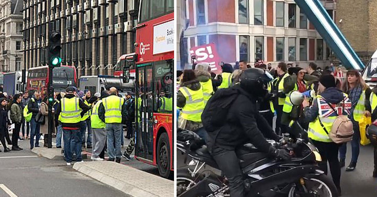 yellow vests protest.jpg?resize=412,232 - Protesters Block Bridges In Central London As They Demand Britain's Exit From The EU