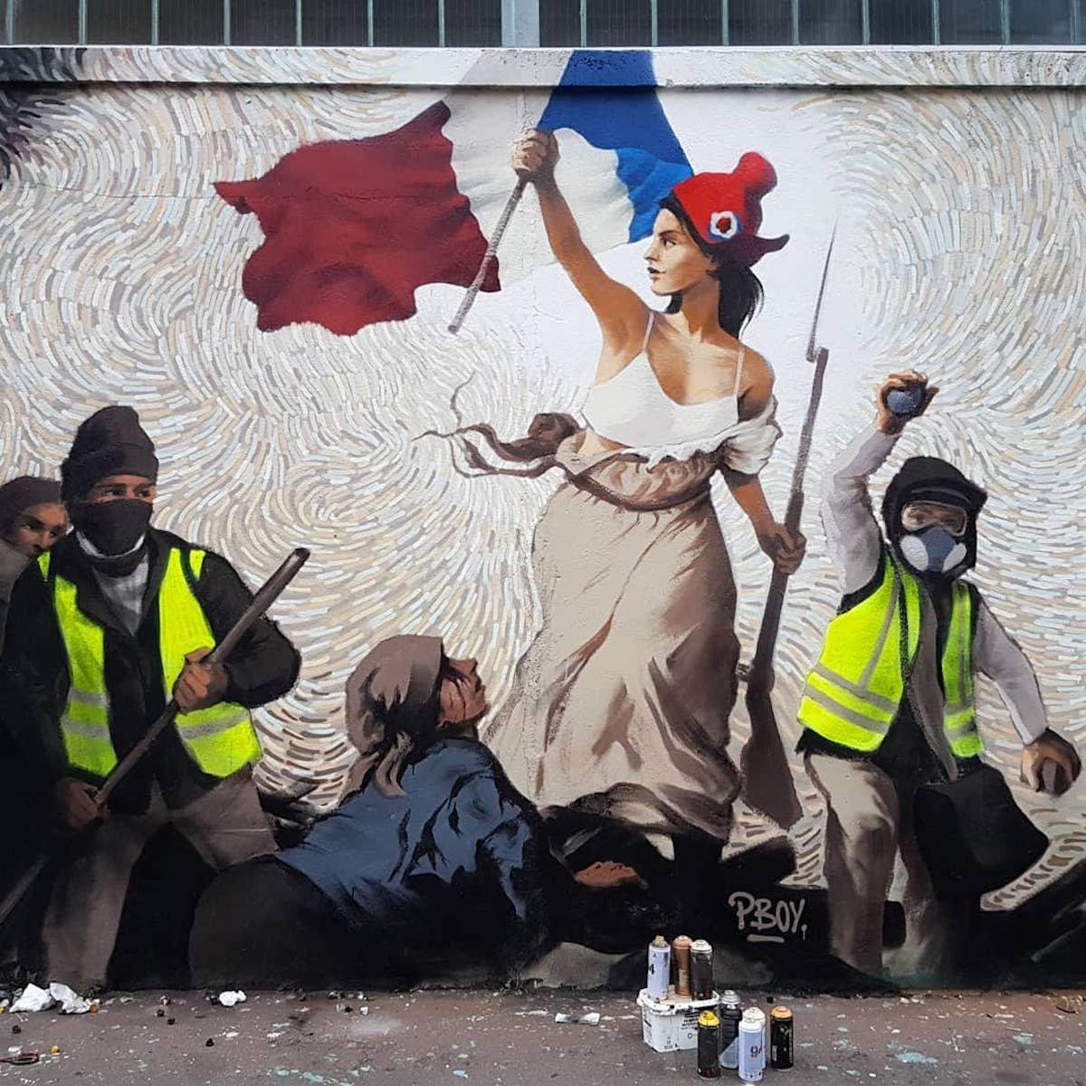"""gilets jaunes delacroix street art 01.jpg?resize=412,232 - Cet artiste a détourné """"La Liberté guidant le peuple"""" avec des gilets jaunes"""