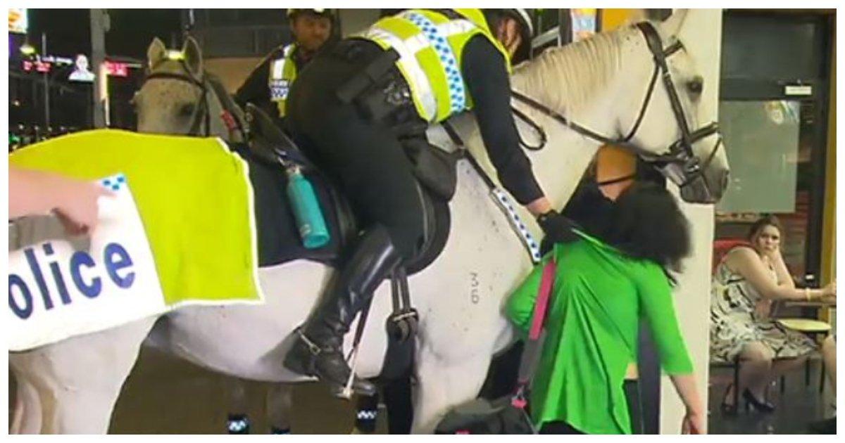 horse.jpg?resize=1200,630 - Une femme jeté à terre par un officier de police après qu'elle est voulu frapper son cheval