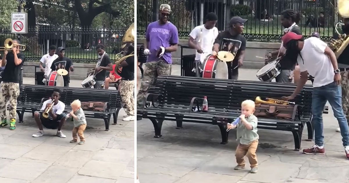 little boy performs.jpg?resize=412,232 - Little Boy Performs With A Fake Trumpet With A Band And Steals The Show
