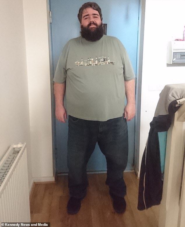 Matthew Hughes, 39, from Cheshire, has allowed himself to indulge in the two finger chocolate biscuit bar every evening since starting his weight loss journey in January 2017