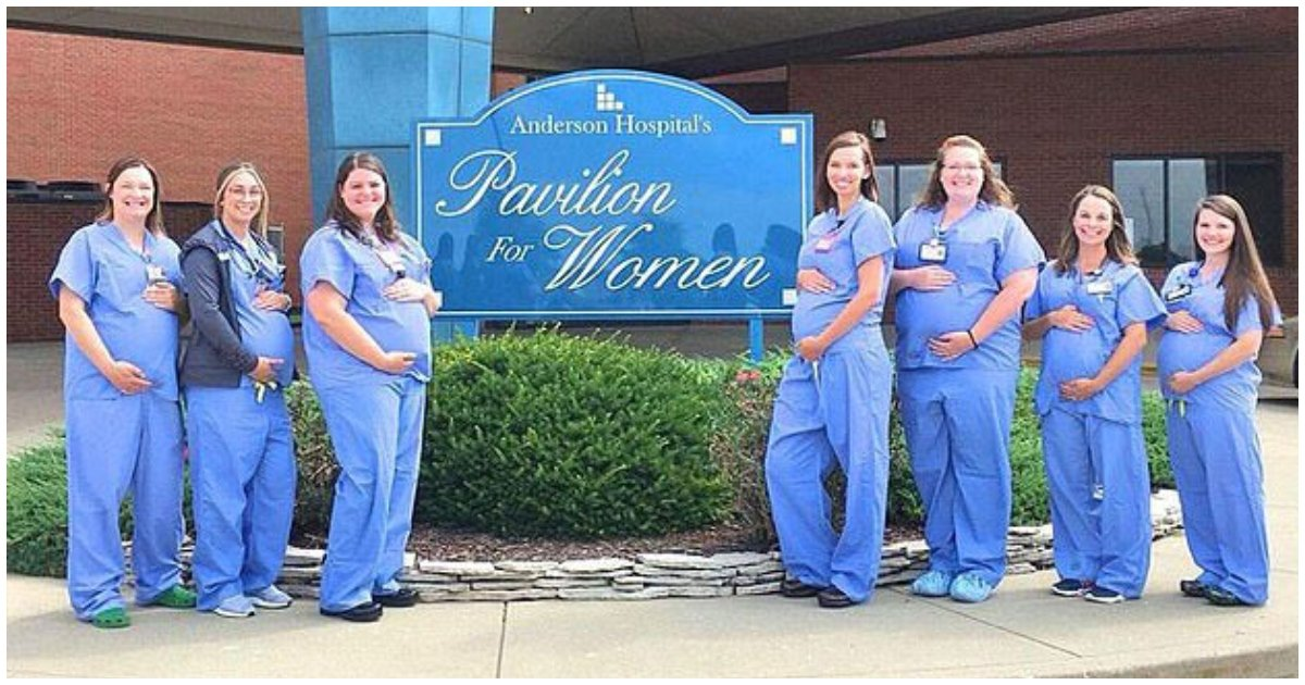 pregnant 1.jpg?resize=412,232 - Hospital In Illinois Shared A Photo Of 7 Pregnant Nurses That All Work In The Same Department