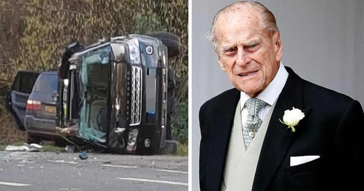 prince phillip car crash.jpg?resize=412,232 - Prince Philip Crashed His Land Rover Near Sandringham