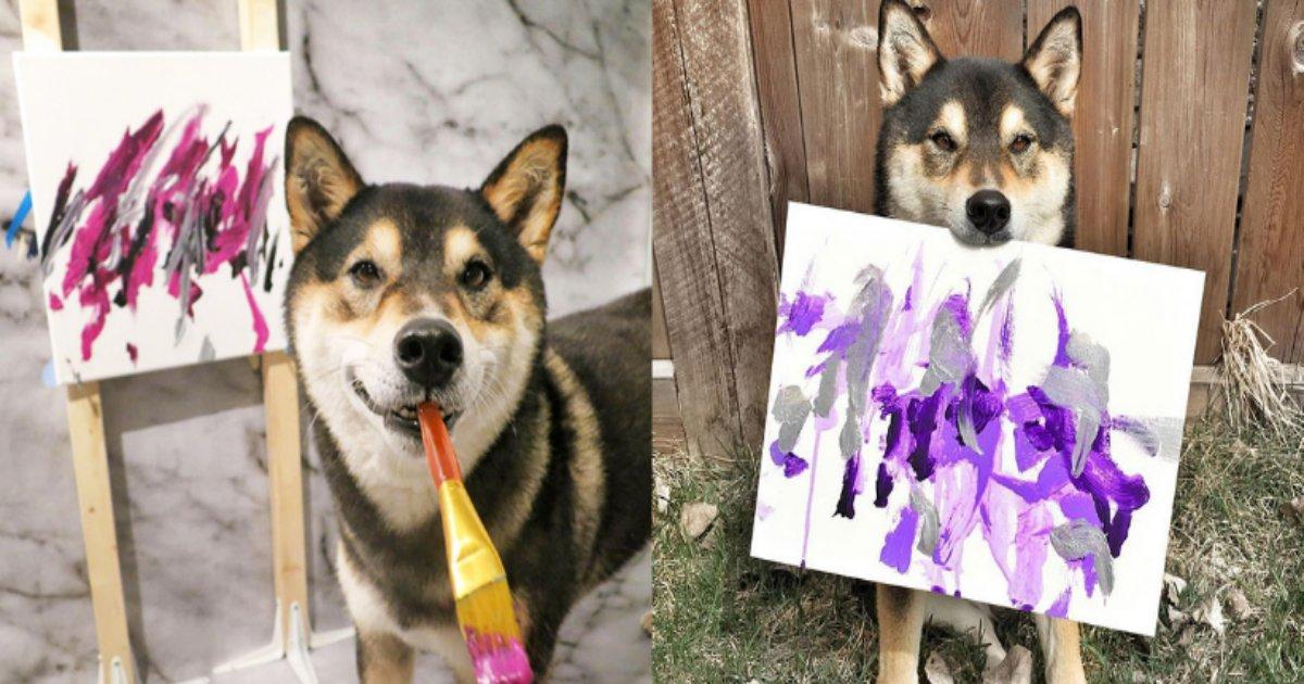 siba.png?resize=412,232 - 柴犬が描いた絵が実際に販売している?柴犬って賢いの?