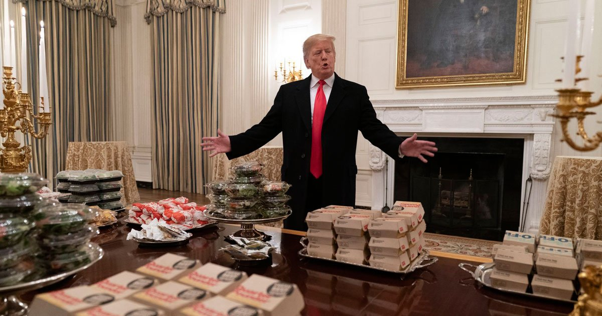 trump fast food feast.jpg?resize=412,232 - President Donald Trump's Fast-Food Feast For The Clemson Tigers At The White House