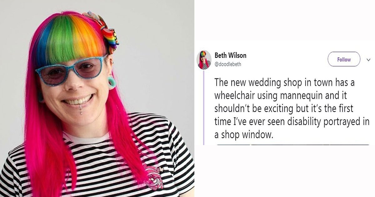 woman wheelchair mannequin.jpg?resize=412,232 - Woman - Who Uses A Wheelchair - Was Left Teary-Eyed Seeing A Mannequin In A Wheelchair At A Bridal Boutique