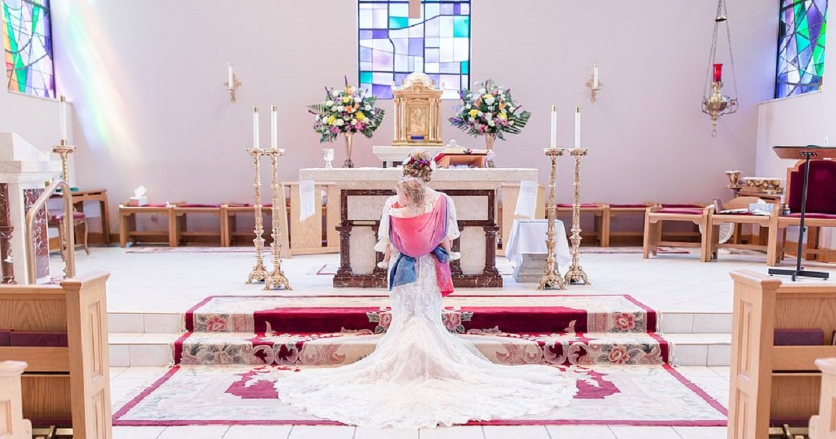 b3.jpg?resize=412,232 - Bride Wows Guests As She Walks Down The Aisle With Her Two-Year-Old Daughter Elegantly Strapped To Her Back