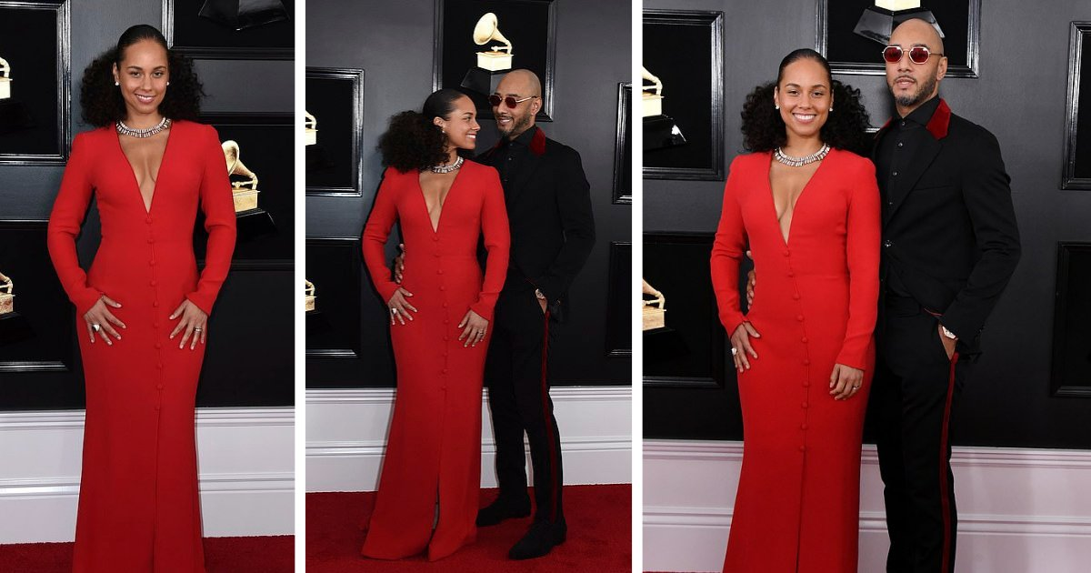 d3 8.png?resize=412,232 - Alicia Keys Comes Red Hot on the Red Carpet of the 61st Grammy's