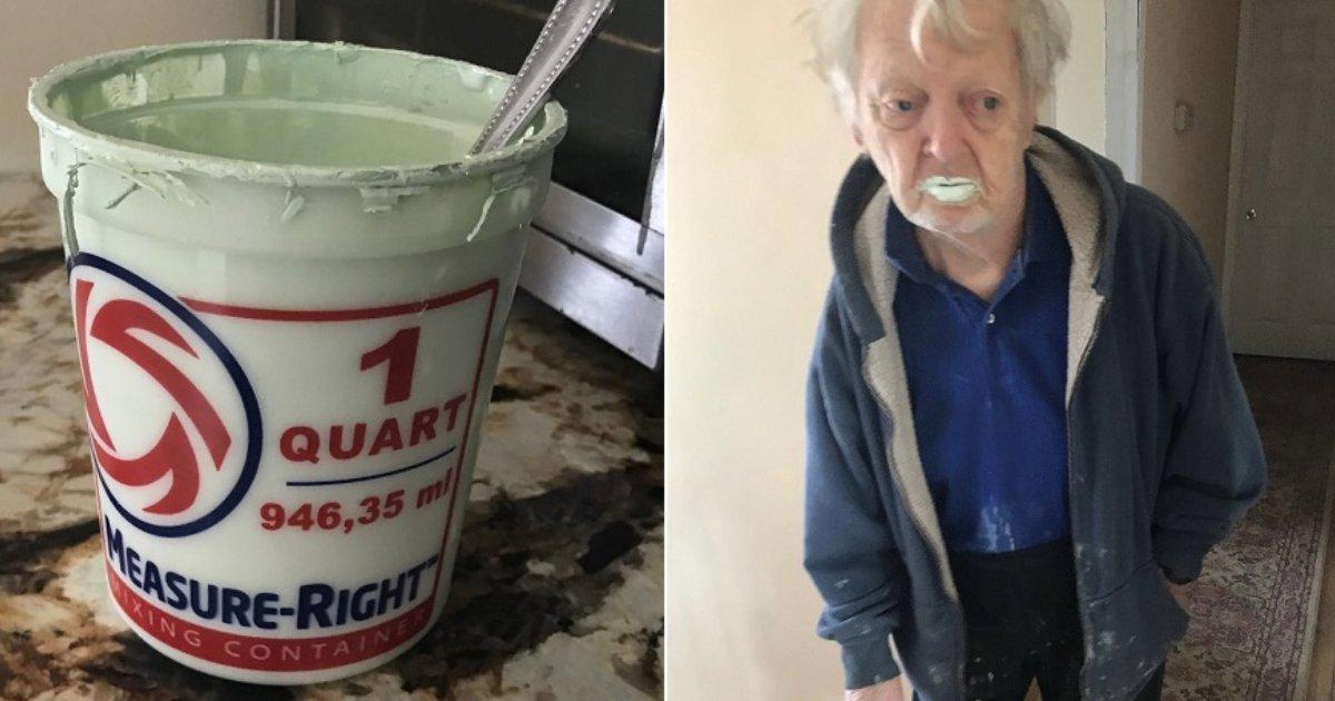 featured image 2.png?resize=412,232 - Un homme de 90 ans devient viral après avoir confondu accidentellement un pot de peinture avec un yaourt